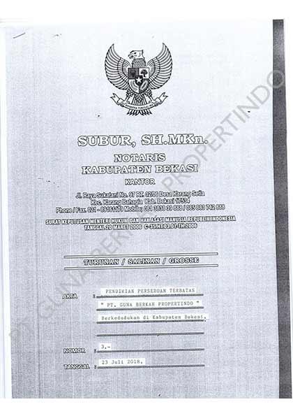 Legalitas PT. Guna Berkah Propertindo