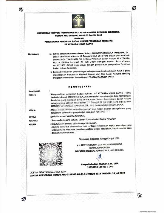 01 [azamtaproperti.com] Legalitas Azzahra Hiils KEMENHUMHAM
