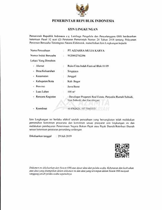 05 [azamtaproperti.com] Legalitas Azzahra Hiils Izin Lingkungan