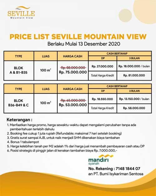 Price List Kavling Serbaguna Seville Mountain View