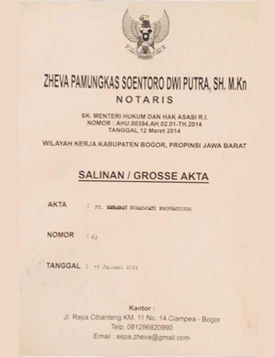 [Azamta Properti] Akta Notaris Legalitas Kavling Jati Indah Transyogi