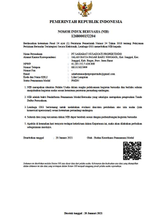 [Azamta Properti] Nomor Induk Berusaha (NIB) Legalitas Kavling Jati Indah Transyogi