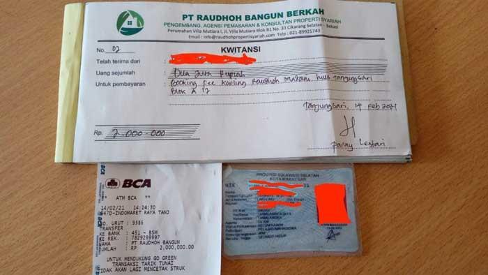Kwitansi Bukti Booking Pembelian Kavling Raudhoh Madani Hills - Azamta Properti