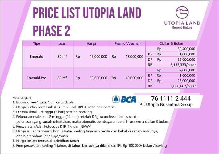Price List Utopia Land Azamta Properti
